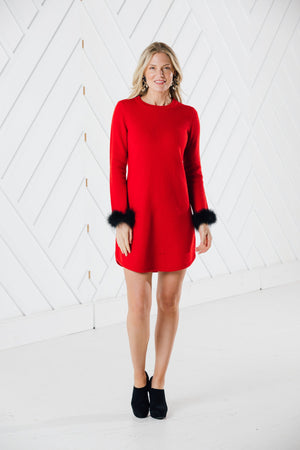 Long Sleeve Sweater Dress with Faux Fur (Two Colors Red or Black)