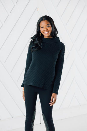 Quilted Long Sleeve Button Back Top