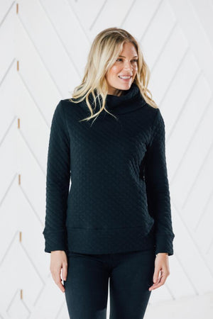 Quilted Cowl Neck Pullover
