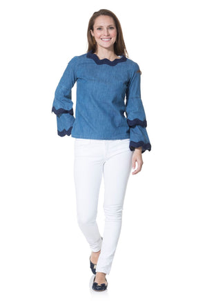 Chambray Double Bell Sleeve Top