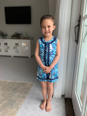 Kids Boat Print Sleeveless Dress
