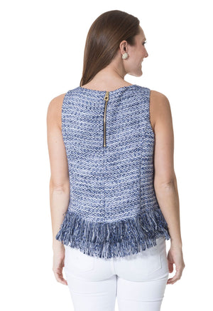 Tweed Fringe Hem Sleeveless Top