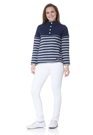 Quilted French Terry Button Up Stripe Pullover