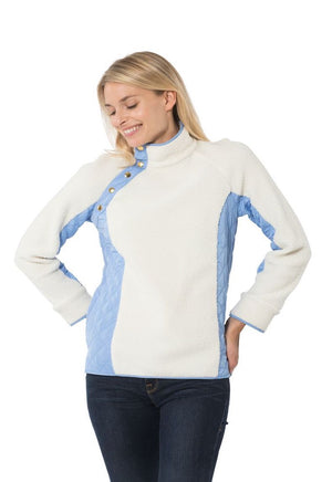 Sherpa Fleece Cross Button Raglan Pull Over Camel