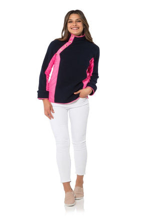 Navy Sherpa Fleece Cross Button Raglan Pull Over