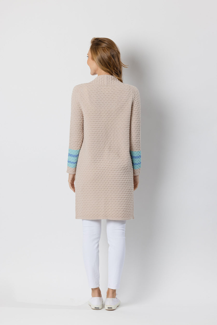 Camel Drape Front Cardigan Sweater with Stripes