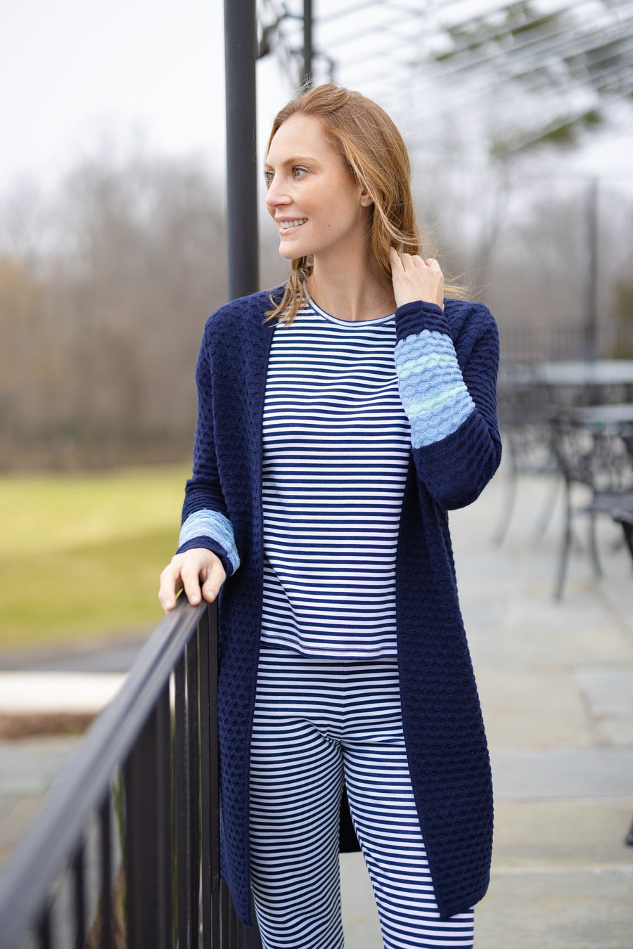 Navy Drape Front Cardigan Sweater with Stripes