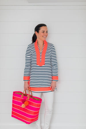Striped Knit Long Sleeve Tunic Top