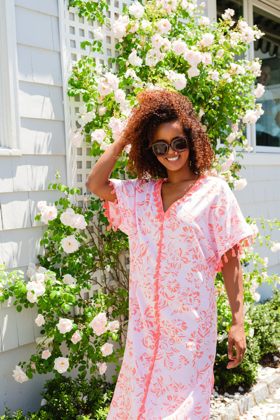 Pink Toile Caftan with Tassels