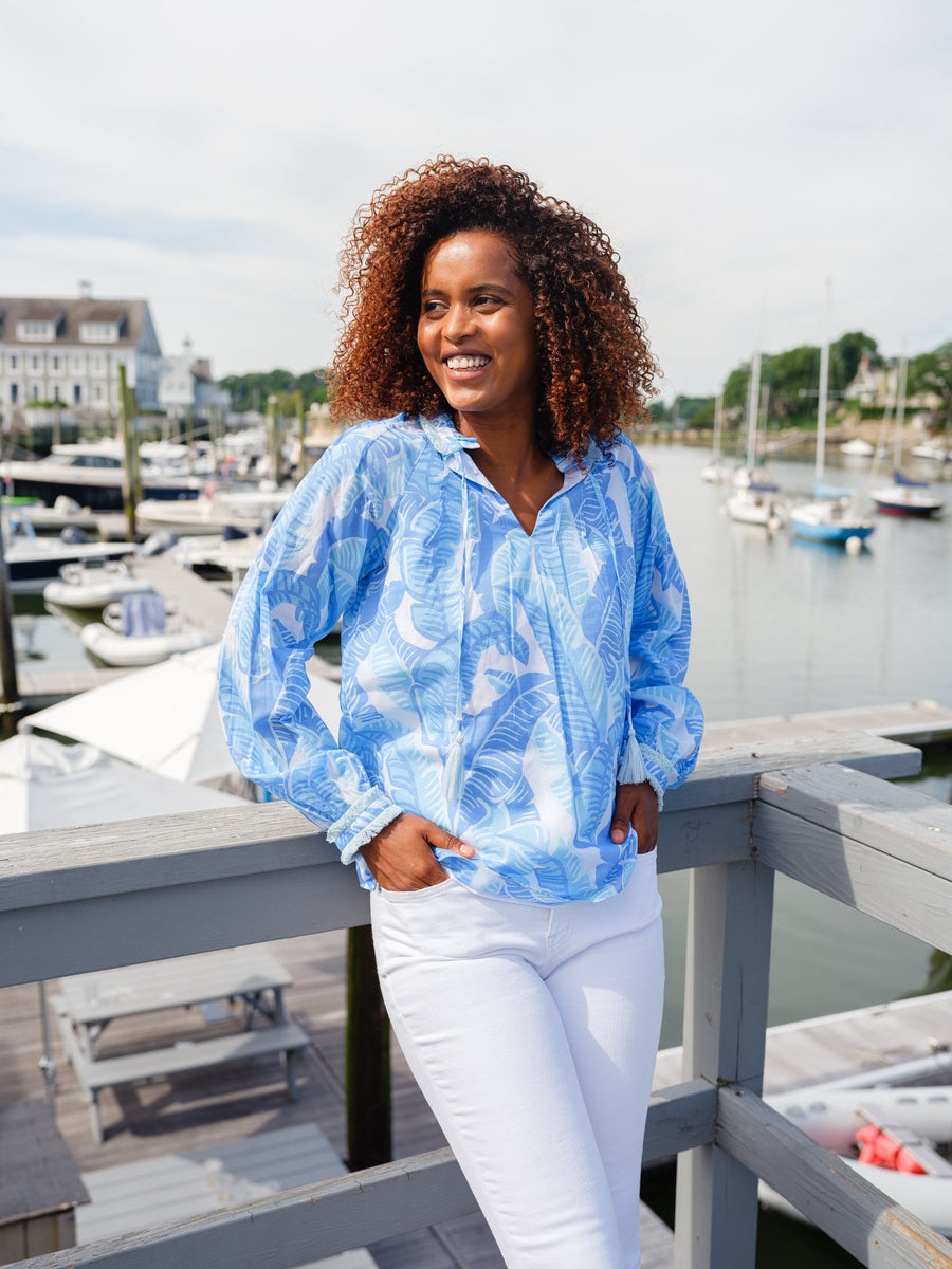 Blue Palm Print Ruffle Neck Top