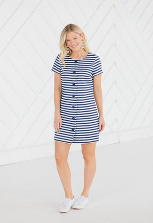 Stripe Jacquard Button Front Dress