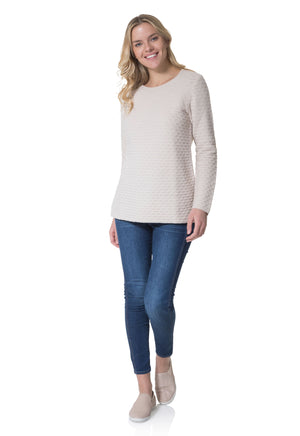 Long Sleeve Honeycomb Sweater Camel