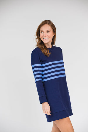 Stripe Sweatshirt Dress - Two Colors