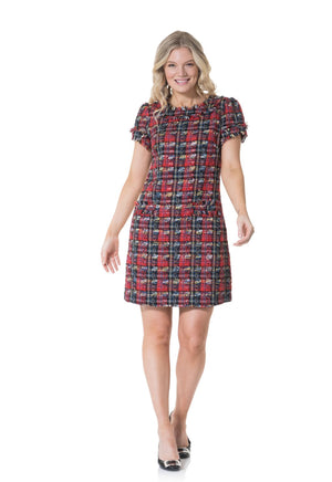 Plaid Tweed Short Sleeve Shift Dress
