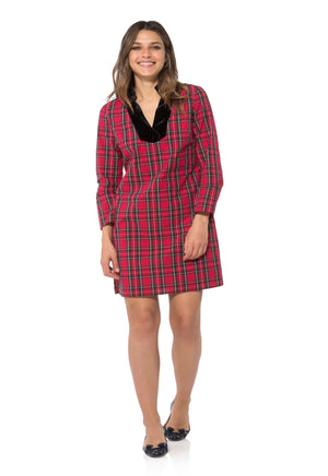 Stretch Cotton Plaid Tunic Dress Red