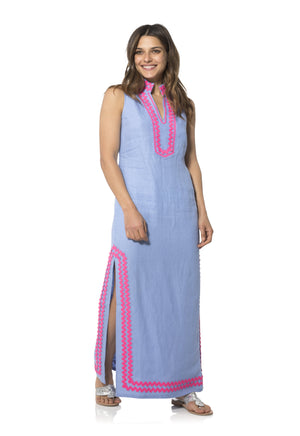 Sleeveless Classic Maxi Tunic with Ric Rac Hydrangea