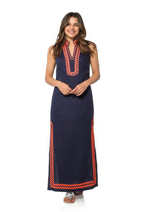 Sleeveless Classic Maxi Tunic with Ric Rac Navy