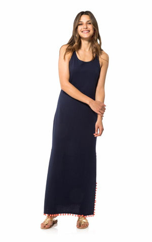 Racerback Pom Pom Maxi Dress Navy