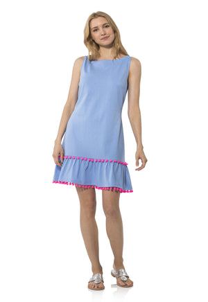 Sleeveless Peplum Pom Pom Dress Hydrangea