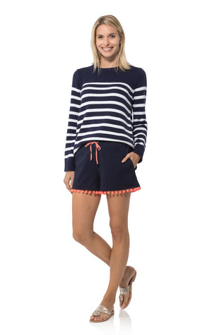 Draw String Pom Pom Shorts Navy