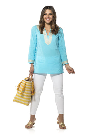 Long Sleeve Tunic Top Ocean