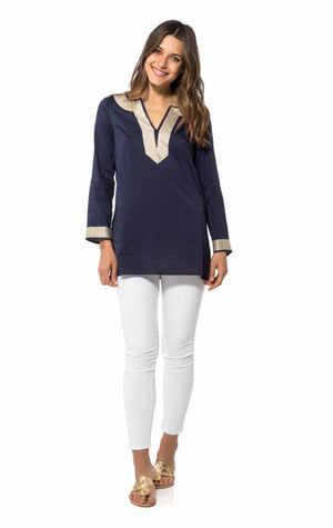 Long Sleeve Tunic Top Navy