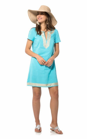 Short Sleeve Tunic Dress Ocean