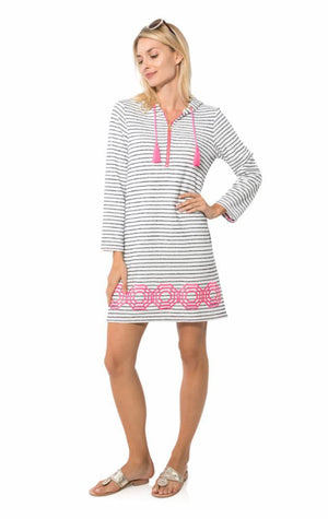 French Terry Long Sleeve Hoodie Dress