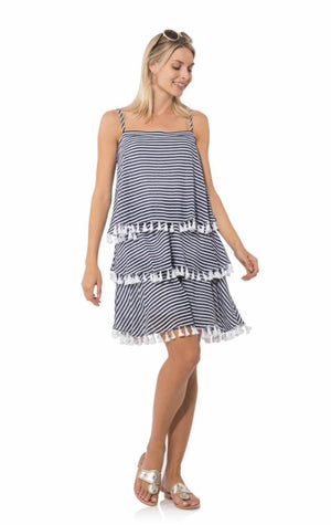 Crinkle Cotton Tiered Slip Dress Navy