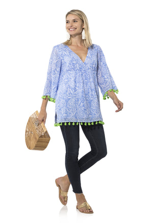 Crinkle Cotton Shirred Tunic Top Pineapple Print