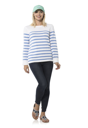 Long Sleeve Stripe Sweater White