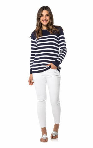 Long Sleeve Stripe Sweater Navy
