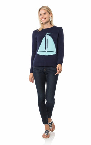 Long Sleeve Intarsia Sweater-Sailboat
