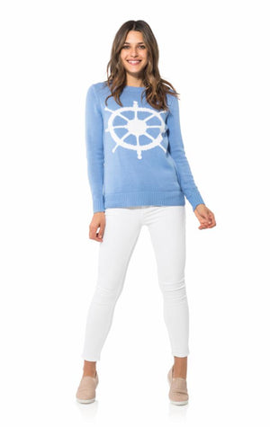 Long Sleeve Intarsia Sweater-Wheel