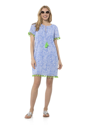 Crinkle Cotton Short Sleeve Tunic Dress Pineapple