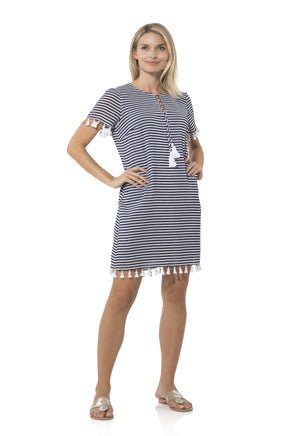 Crinkle Cotton Short Sleeve Tunic Dress Navy