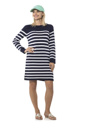 Long Sleeve Stripe Sweater Dress Navy