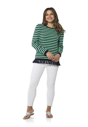 Stripe Tassel Sweater Navy/Green