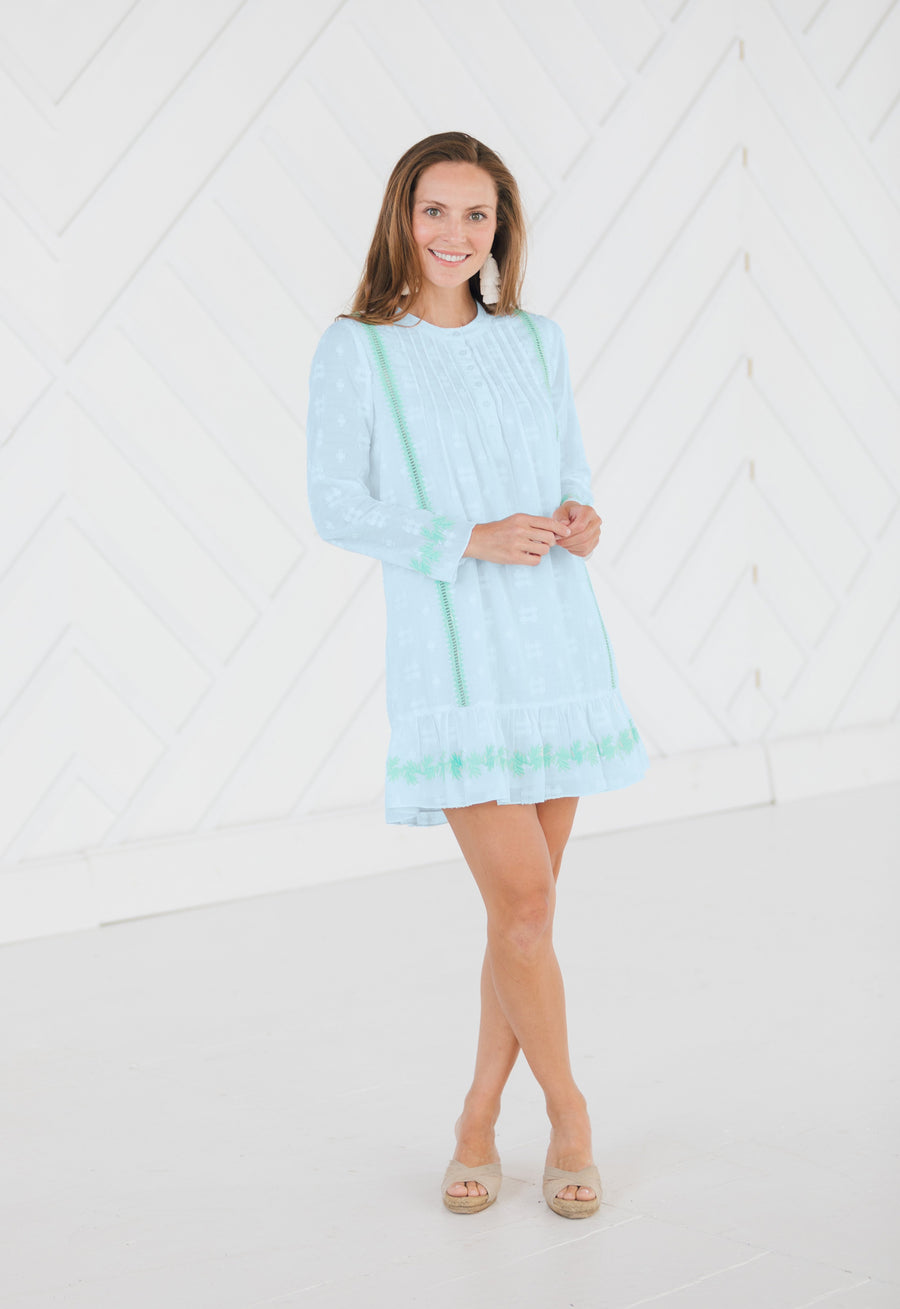 Embroidered Long Sleeve Dress White or Sky