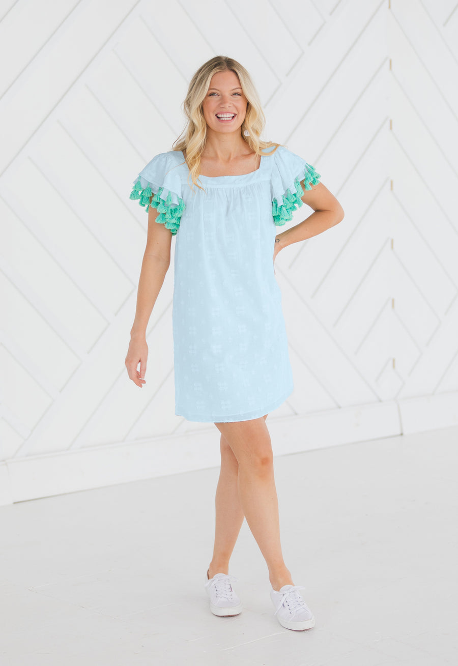 Flounce Sleeve Tassel Dress White or Sky Blue