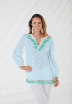 Long Sleeve Tassel Top Sky Blue