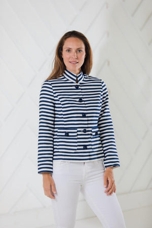 Stripe Jacquard Button Front Short Jacket