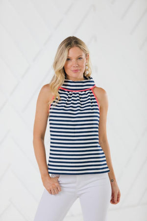 Stripe Jacquard Button Back Top