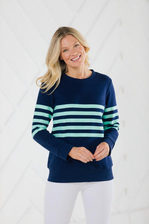 Stripe French Terry Sweatshirt Navy