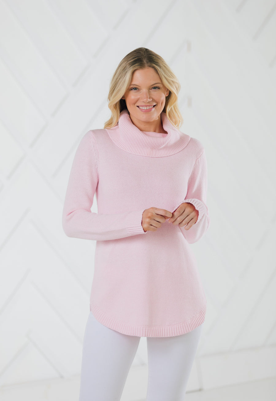 Long Sleeve Round Hem Turtleneck Sweater Blush