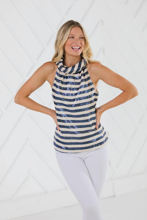 Stripe Sequin Button Back Top