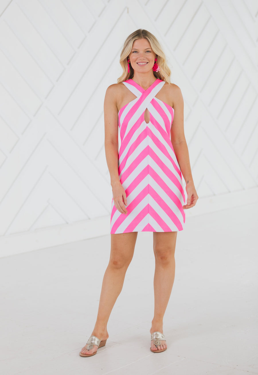Stripe Cross Front Tank Dress