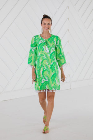 Palm Print Tassel Tunic Dress