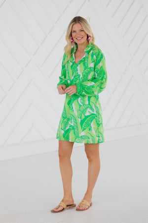 Palm Print Ruffle Neck Long Sleeve Dress