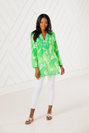 Palm Print Tassel Tunic Top